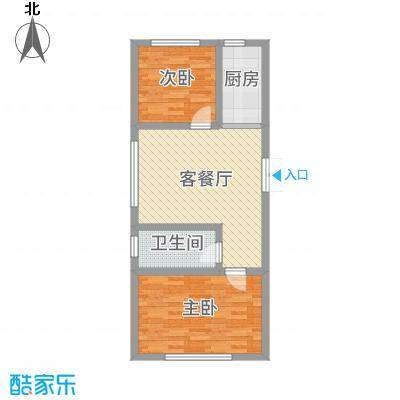 润和西部尚城75.77㎡6号楼A户型2室2厅1卫1厨