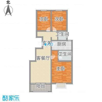 民生凤凰城111.00㎡B户型3室3厅2卫1厨