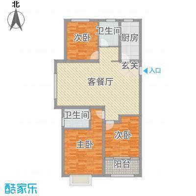 民生凤凰城121.00㎡E户型3室3厅1卫1厨