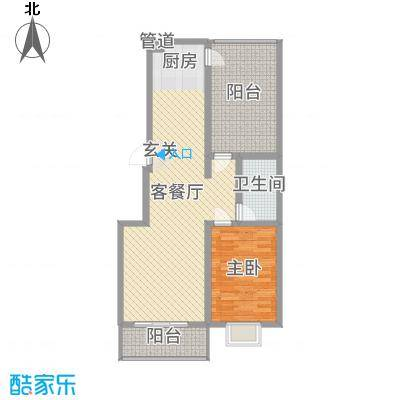 玉琥明珠苑二期83.92㎡二期所有楼栋标准层G户型1室1厅1卫1厨