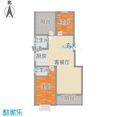 玉琥明珠苑二期101.64㎡二期所有楼栋H户型2室2厅2卫1厨