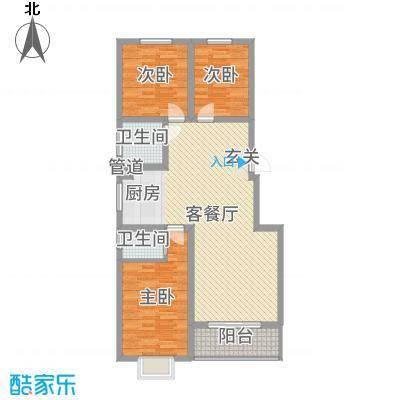 玉琥明珠苑二期115.77㎡二期所有楼栋标准层E户型3室3厅2卫1厨
