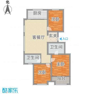民生凤凰城121.00㎡H户型3室3厅2卫1厨