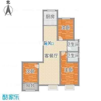 民生凤凰城123.00㎡F户型3室3厅2卫1厨