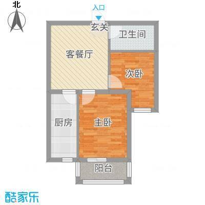 金色玺园63.88㎡1#楼标准层B户型2室2厅1卫1厨