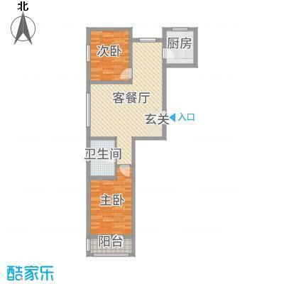 金色玺园91.36㎡1#楼标准层A户型2室2厅1卫1厨