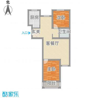 金色玺园96.92㎡1#楼标准层C户型2室2厅1卫1厨