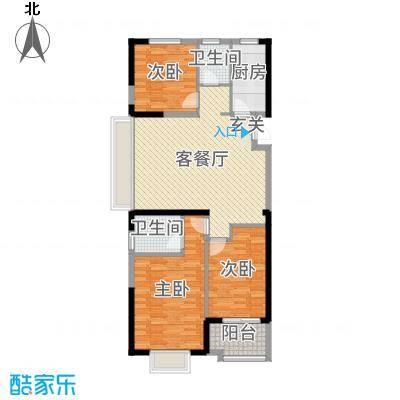 四季金辉110.38㎡11#楼H1户型3室3厅2卫1厨