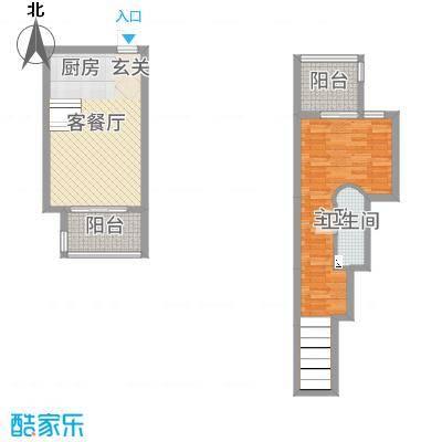 嘉凯城太湖阳光假日78.14㎡太湖丽景错叠跃层户型1室1厅1卫1厨