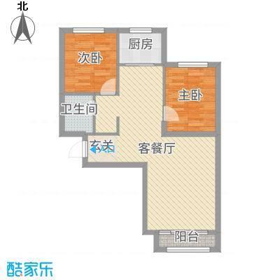 蓝廷花苑85.00㎡E1户型2室2厅1卫