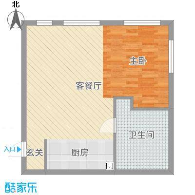 金紫荆公馆67.81㎡1号楼H户型1室1厅1卫1厨