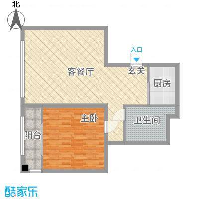 金紫荆公馆84.75㎡1号楼E户型1室1厅1卫1厨