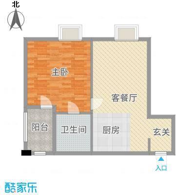 金紫荆公馆74.00㎡1号楼A户型1室1厅1卫1厨