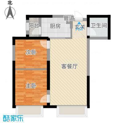 中海国际社区81.00㎡G734F、G134F标准层F1户型2室2厅1卫1厨