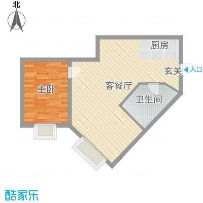 金紫荆公馆67.47㎡1号楼F户型1室1厅1卫1厨