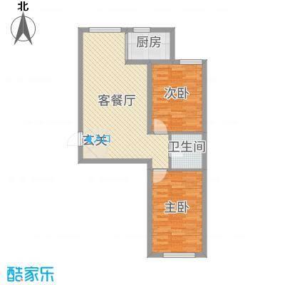蓝廷花苑72.00㎡B3户型2室2厅1卫