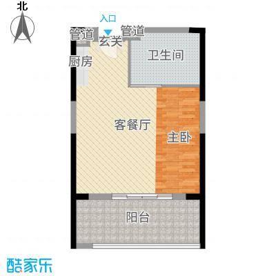 合正东部湾68.00㎡77#楼D1户型1室1厅1卫1厨