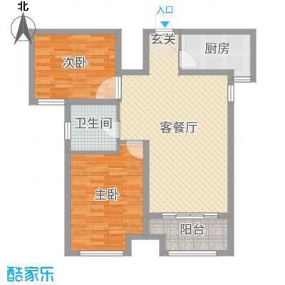 绿地泰晤士新城87.00㎡三期高层N2户型2室2厅1卫1厨