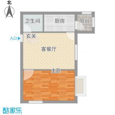 万达杰座40.28㎡A栋40.28平米户型1室2厅1卫1厨-副本