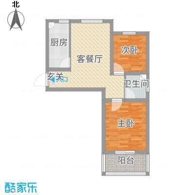 领南庄园75.08㎡12#楼C户型2室2厅1卫1厨