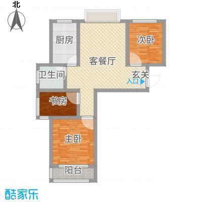 华新家园87.15㎡高层平面A1户型2室2厅1卫1厨