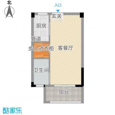 旷达太湖花园60.20㎡34-36#标准层A1户型1室1厅1卫1厨