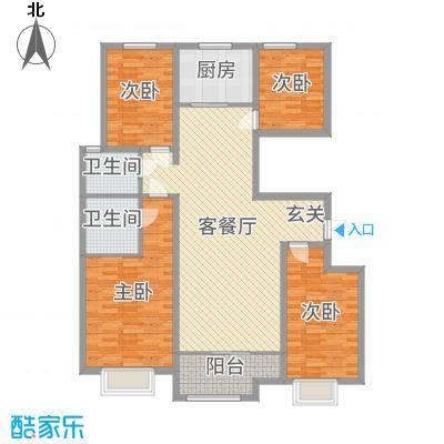 民生凤凰城142.00㎡M户型4室4厅2卫1厨