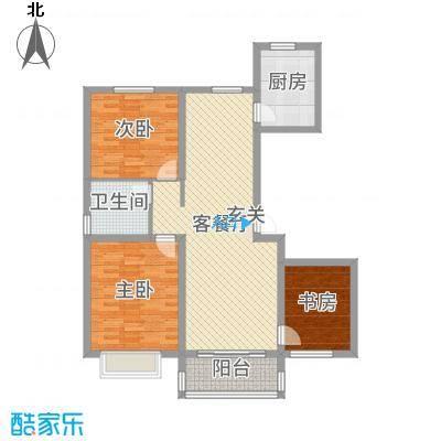 昊和沁园110.00㎡29#30#D1边户户型3室3厅1卫1厨