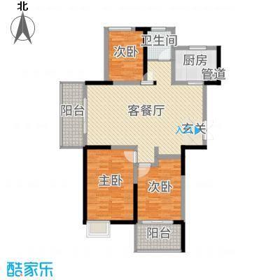 君河湾119.00㎡49#楼C1户型3室3厅1卫1厨