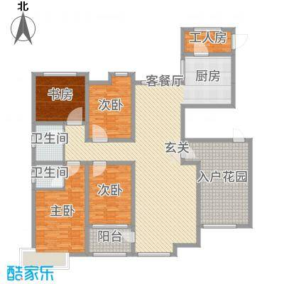 锦江・城市花园二期185.02㎡三期B户型5室5厅2卫1厨