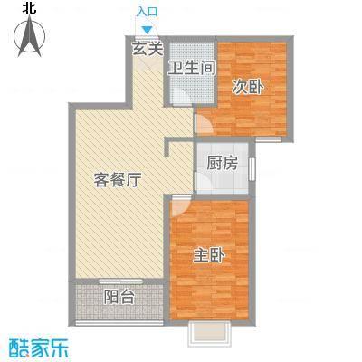 景都花苑Ⅲ・花贵97.87㎡5号楼D户型2室2厅1卫1厨