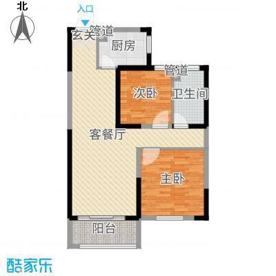 华明星海湾87.20㎡三期23#楼D3户型2室2厅1卫1厨