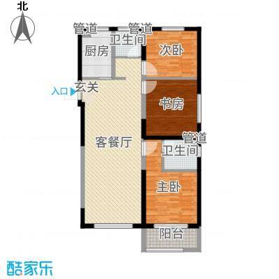 华明星海湾121.30㎡三期20#、25#楼F3户型3室3厅2卫1厨