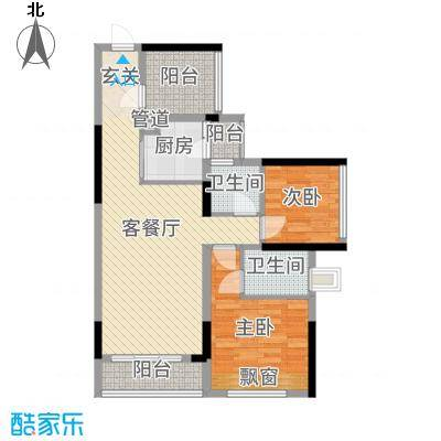 龙光・水悦龙湾89.00㎡二期8座03/04单元户型3室3厅2卫1厨