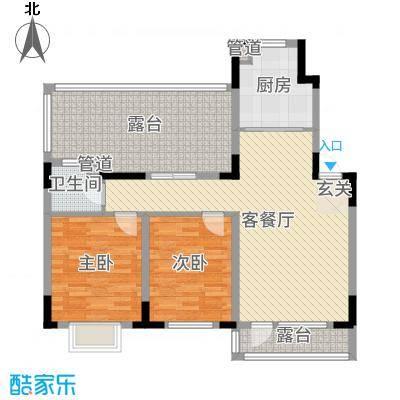 新加坡花园85.00㎡Y2户型2室2厅1卫1厨