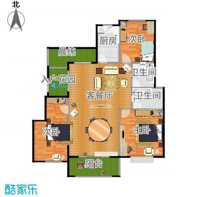 富兴御园135.14㎡电梯洋房B户型3室2厅2卫-副本