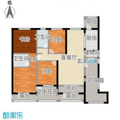 盟科涵舍167.87㎡3号楼A户型4室4厅2卫1厨
