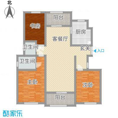 御园136.00㎡E5、E8、E12楼H1户型3室3厅2卫