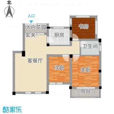 九江国际湾89.50㎡洋房D-6户型3室3厅1卫1厨