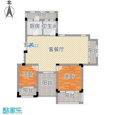 九江国际湾103.64㎡洋房F-6户型2室2厅1卫1厨