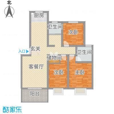 天泽水岸114.80㎡一期1#A户型3室3厅2卫1厨