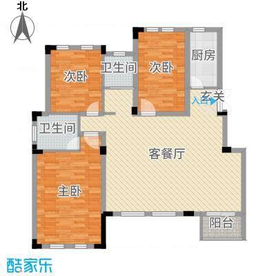 九江国际湾121.27㎡洋房A-4户型3室3厅2卫1厨