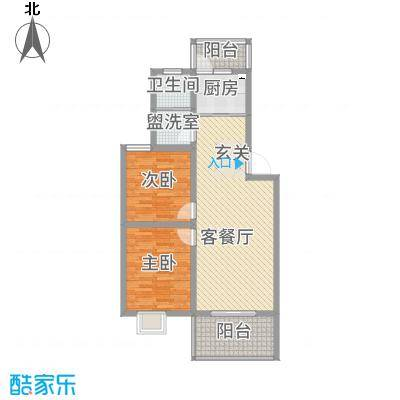 天泽水岸92.00㎡一期6#C户型2室2厅1卫1厨