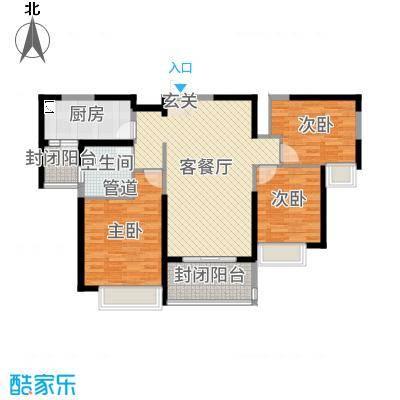 秦皇岛恒大城110.97㎡21#22#标准层户型3室3厅1卫1厨