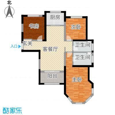 中南世纪锦城117.38㎡13号楼C3瑰奇秘境户型3室3厅2卫1厨