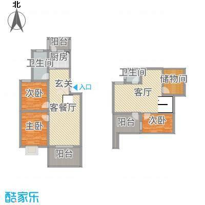 天泽水岸125.50㎡一期6#跃层户型3室3厅2卫1厨