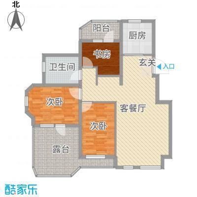 金地艺境88.00㎡67#1-3-1顶层边户户型3室3厅1卫1厨