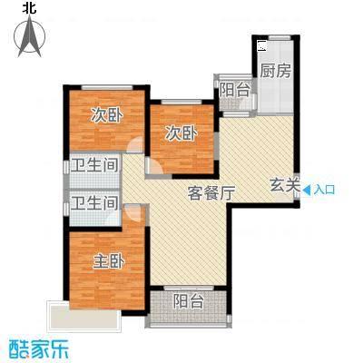 秦皇岛恒大城128.80㎡14#15#标准层户型3室3厅2卫1厨