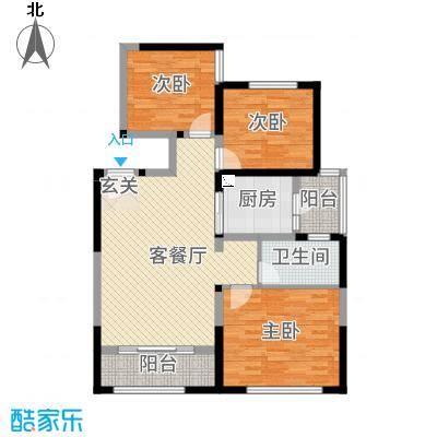 中铁・缇香郡86.57㎡3号楼B1户型3室3厅1卫1厨