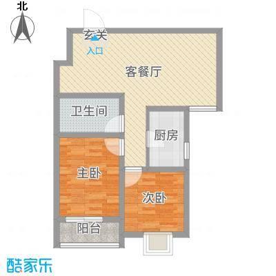 东润国际新城80.74㎡30号楼1-02户型2室2厅1卫1厨